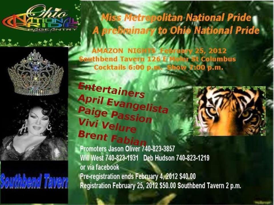Miss Metropolitan National Pride Ad | Southbend Tavern (Columbus, Ohio) | 2/25/2012