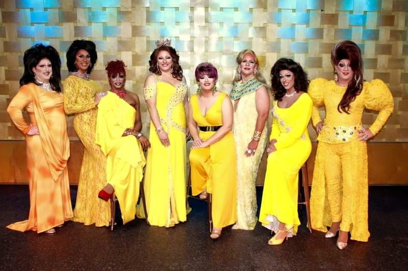 Miss Gay Ohio America Photo Shoot from 2014. L to R: Tiffanie Taylor, Erika Evans, Diamond Hunter, Britney Blaire, Vivi Velure, Erica Rae O'Hara, Deva Station and Hellin Bedd