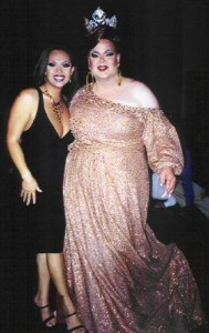 Maya Douglas and Charity Case on the night of Charity's step down as Miss Gay America.