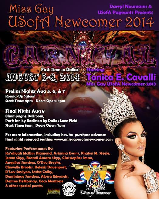 Show Ad | Miss Gay USofA Newcomer | Round-Up Saloon & Champagne Ballroom (Dallas, Texas) | 8/5-8/8/2014