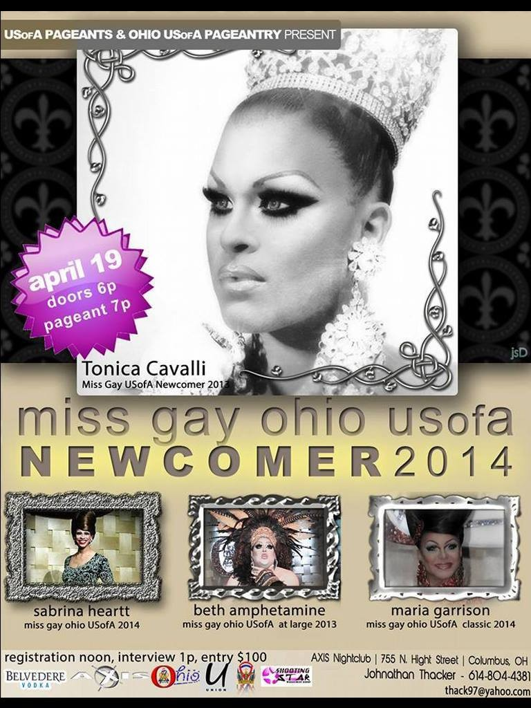 Show Ad | Miss Gay Ohio USofA Newcomer | Axis Night Club (Columbus, Ohio) | 4/19/2014