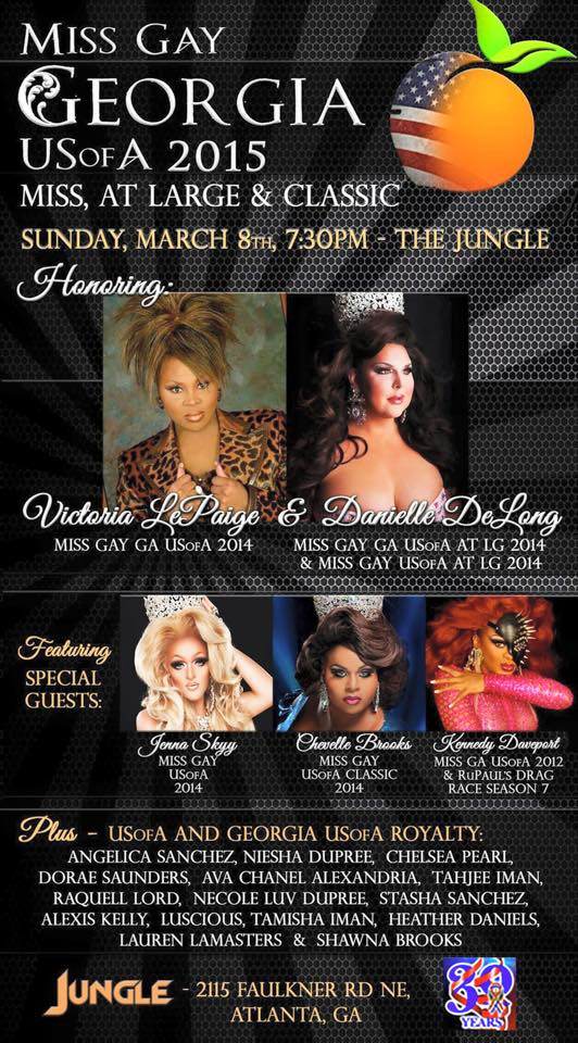Show Ad | Miss Gay Georgia USofA Pageantry | Jungle (Atlanta, Georgia) | 3/8/2015