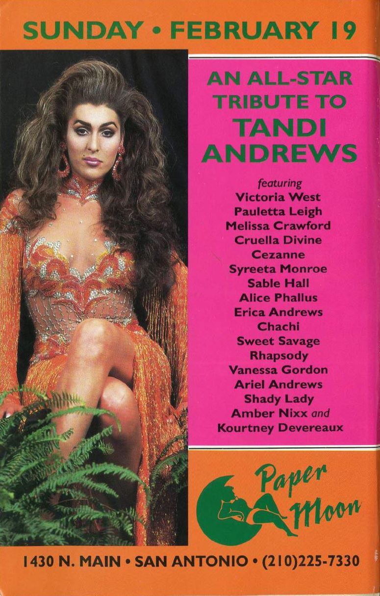 Show Ad | Tribute to Tandi Andrews | Paper Moon (San Antonio, Texas) | 2/19/1995