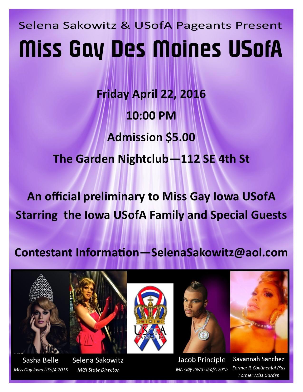 Show Ad | Miss Gay Des Moines USofA | The Garden Nightclub (Des Moines, Iowa) | 4/22/2016