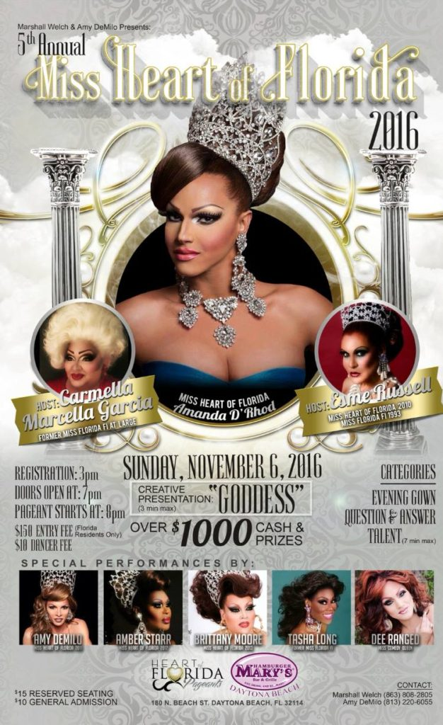 Show Ad | Miss Heart of Florida | Hamburger Mary's (Daytona Beach, Florida) | 11/6/2016