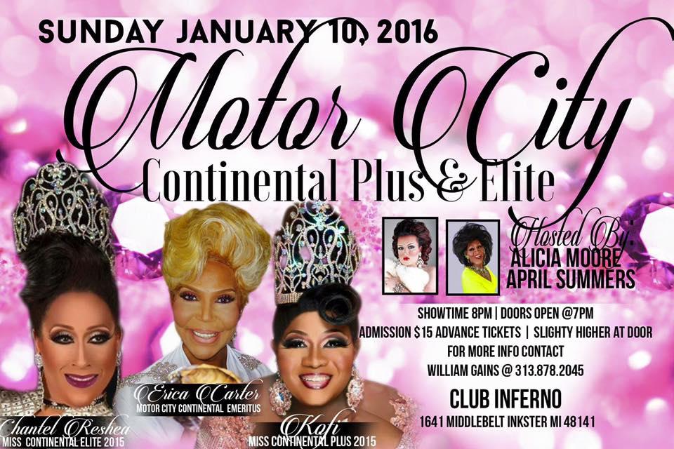 Show Ad | Miss Motor City Continental Plus & Elite | Club Inferno (Inkster, Michigan) | 1/10/2016