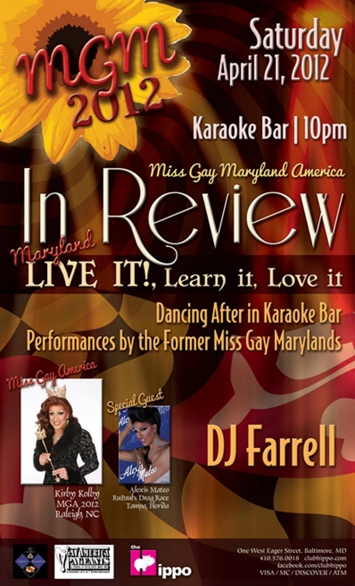 Show Ad | Miss Gay Maryland America | Club Hippo (Baltimore, Maryland) | 4/21/2012