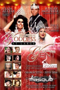 Show Ad | All American Goddess at Large and All American Gent | Masque Night Club (Dayton, Ohio) | 3/17-3/20/2016