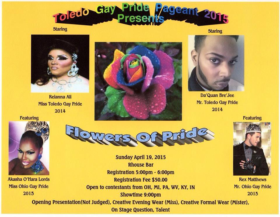 Show Ad | Mr. and Miss Toledo Gay Pride | R House (Toledo, Ohio) | 4/19/2015