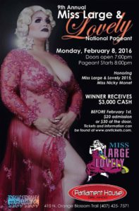 Show Ad | Miss Large and Lovely | Parliament House (Orlando, Florida) | 2/8/2016