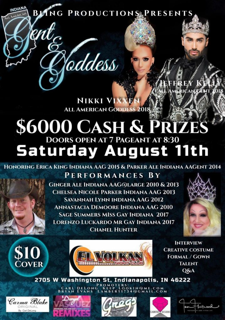 Ad | Indiana All American Gent and Indiana All American Goddess | El Volkan Night Club (Indianapolis, Indiana) | 8/11/2018