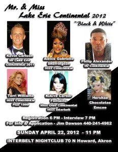 Show Ad | Mr. and Miss Lake Erie Continental | Interbelt Nite Club (Akron, Ohio) | 4/22/2012