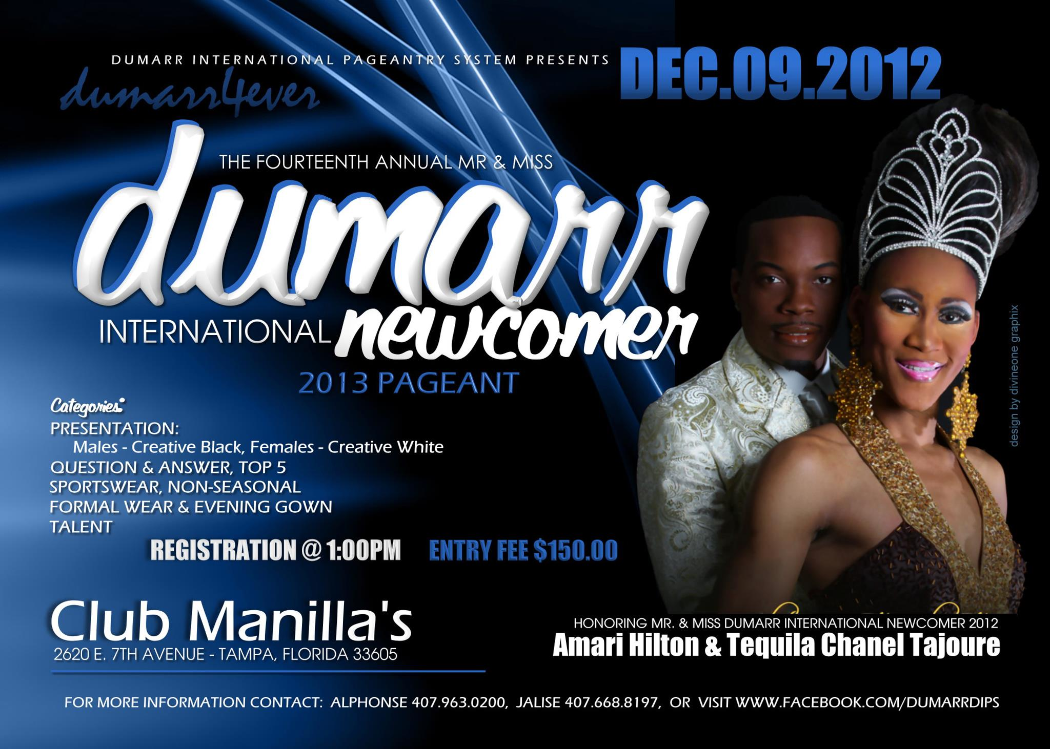 Show Ad | Mr. and Miss Dumarr International Newcomer | Club Manilla's (Tampa, Florida) | 12/9/2012