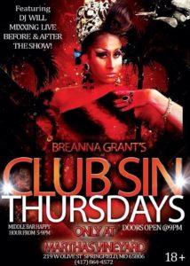 Show Ad | Breanna Grant's Club Sin Thursdays | Martha's Vineyard (Springfield, Missouri) | 12/12/2013