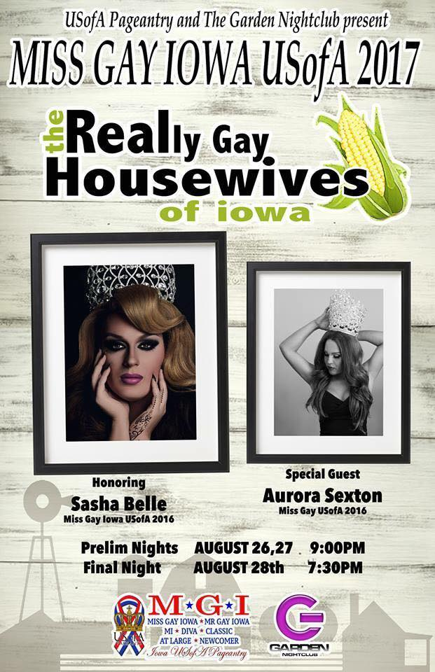 Show Ad | Miss Gay Iowa USofA | The Garden Nightclub (Des Moines, Iowa) | 8/26-8/28/2016