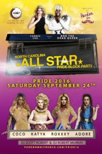 Show Ad | North Carolina All Star Pride Block Party | The Bar Durham (Durham, North Carolina) | 9/24/2016