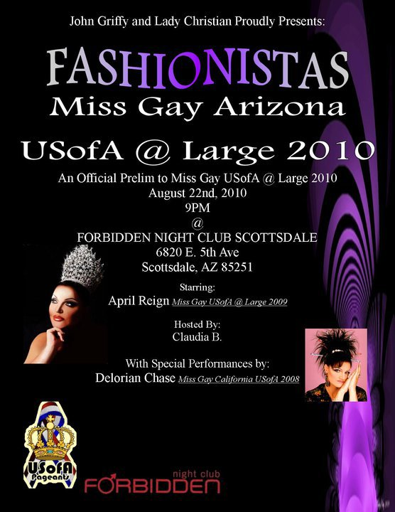 Show Ad | Miss Gay Arizona USofA at Large | Forbidden Night Club (Scottsdale, Arizona) | 8/22/2010