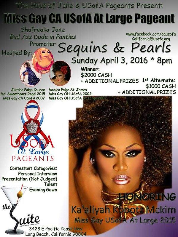 Show Ad | Miss Gay California USofA at Large | The Suite (Long Beach, California) | 4/3/2016