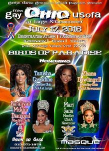 Show Ad | Miss Gay Ohio USofA at Large and Miss Gay Ohio USofA Newcomer | Masque Night Club (Dayton, Ohio) | 7/17/2016