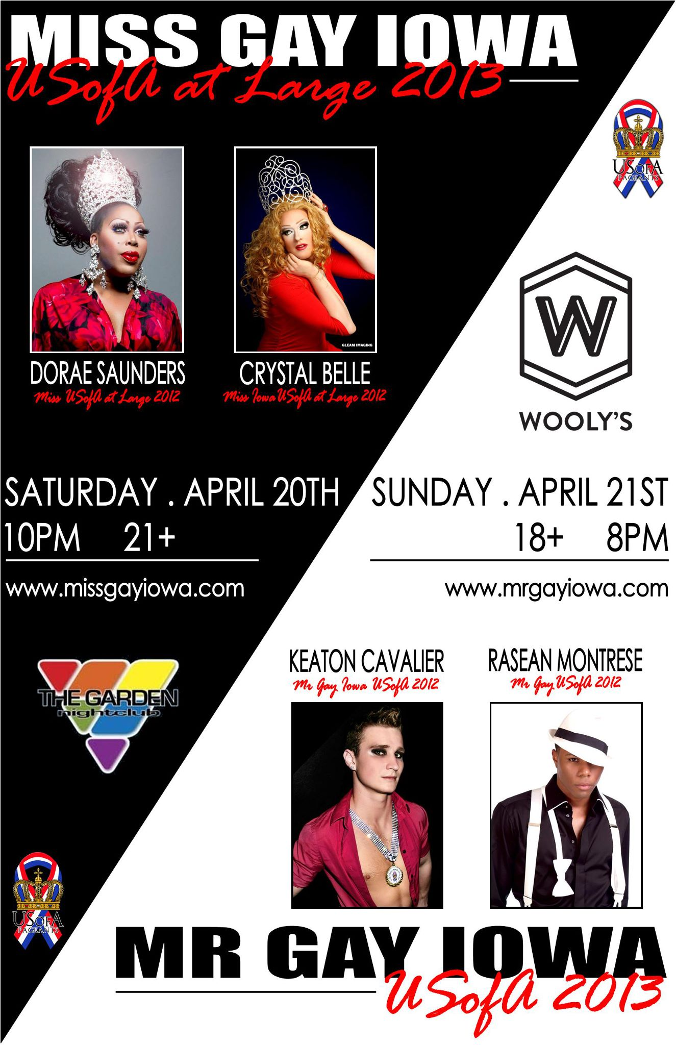 Show Ad | Miss Gay Iowa USofa at Large and Mr. Gay Iowa USofA | 4/20-4/21/2013