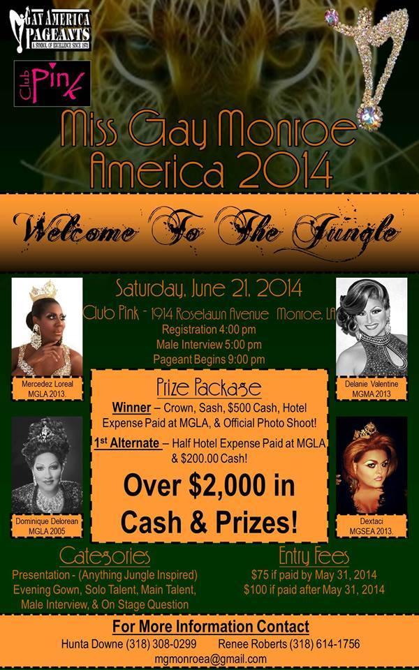 Show Ad | Miss Gay Monroe America | Pink (Monroe, Louisiana) | 6/21/2014