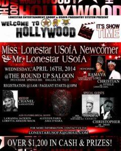 Show Ad | Miss Gay Lonestar USofA Newcomer and Mr. Gay Lonestar USofA | The Roundup Saloon (Dallas, Texas) | 4/16/2014