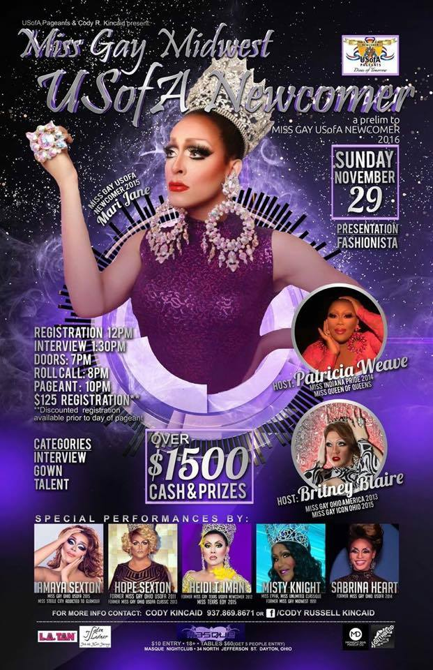 Show Ad | Miss Gay Midwest USofA Newcomer | Masque NIght Club (Dayton, Ohio) | 11/29/2015