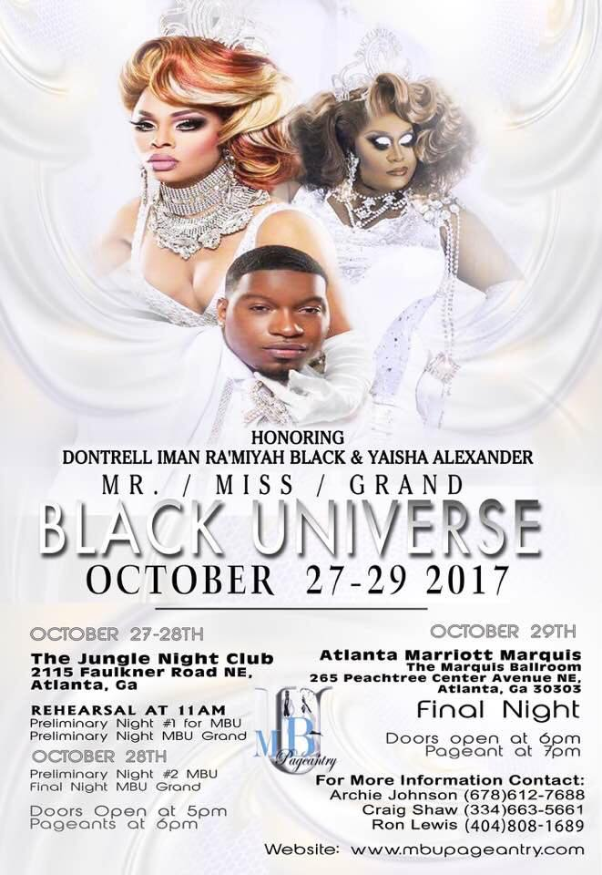 Show Ad | Mr., Miss and Grand Black Universe | The Jungle Night Club & Atlanta Marriott Marquis (Atlanta, Georgia) | 10/27-10/29/2017