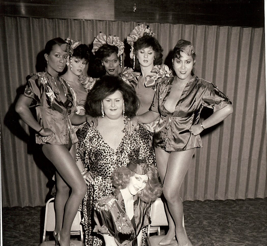 'Fabulous Fakes' Cast included L to R - Danyelle Thomas, Shante (AKA Alexandra Billings), Dianna McKay, Ginger Spice, Monica Mone't. Ginger Grant is in center and Patty Cakes is sitting on the floor.