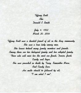 In Loving Memory of Tiffany Scott