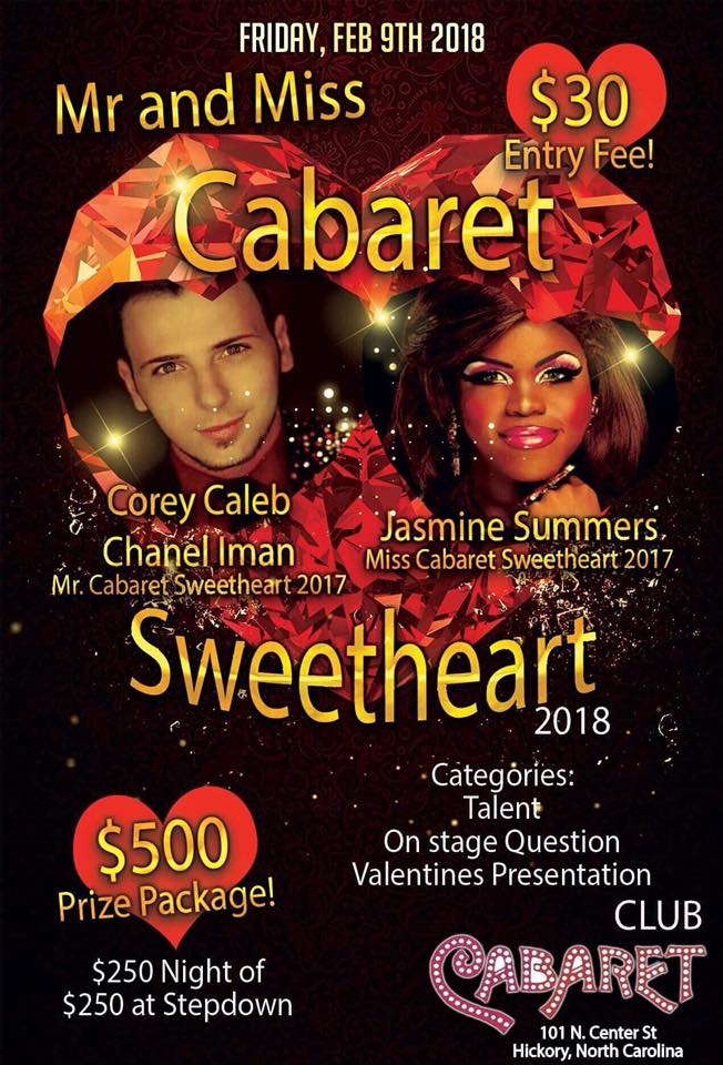Show Ad | Mr. and Miss Cabaret Sweetheart | Club Cabaret (Hickory, North Carolina) | 2/9/2018