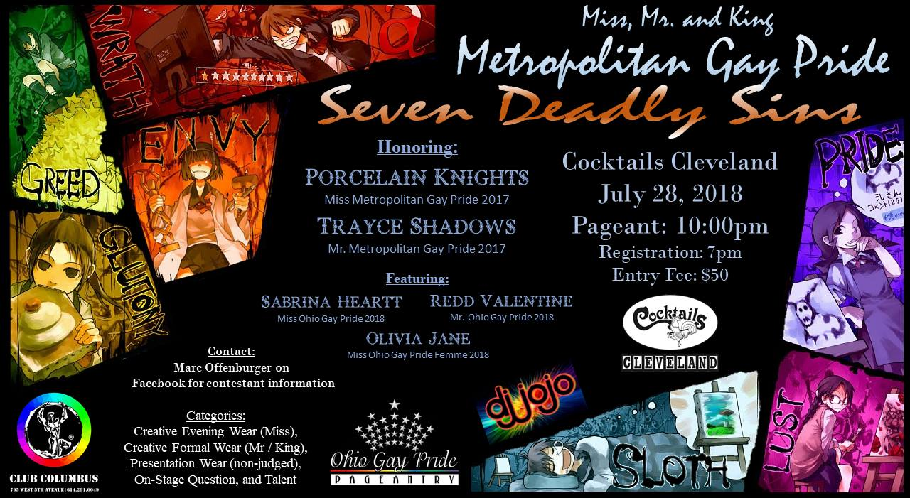 Show Ad | Miss Metropolitan Gay Pride, Mr. Metropolitan Gay Pride and Mr. Metropolitan Gay Pride King | Cocktails (Cleveland, Ohio) | 7/28/2018