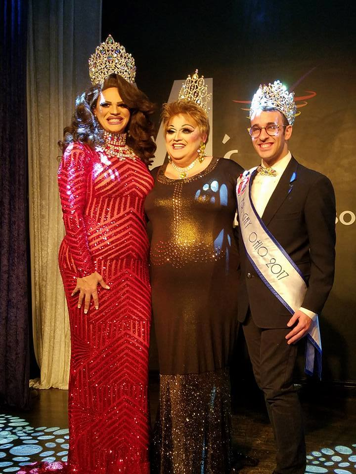 Miss Gay Miami Valley Ohio 2018 at MJ's on Jefferson in Dayton, Ohio. L to R: Ava Aurora Foxx (Miss Gay Ohio 2017), Tori Daniels (Miss Gay Miami Valley Ohio 2018) and Matthew Allen Meade (Mr. Gay Ohio 2018).