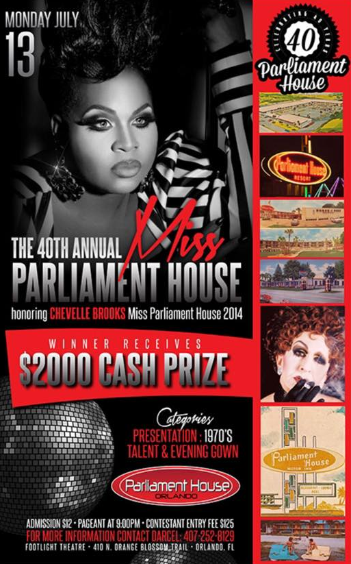 Show Ad | MIss Parliament House | Parliament House (Orlando, Florida) | 7/13/2015