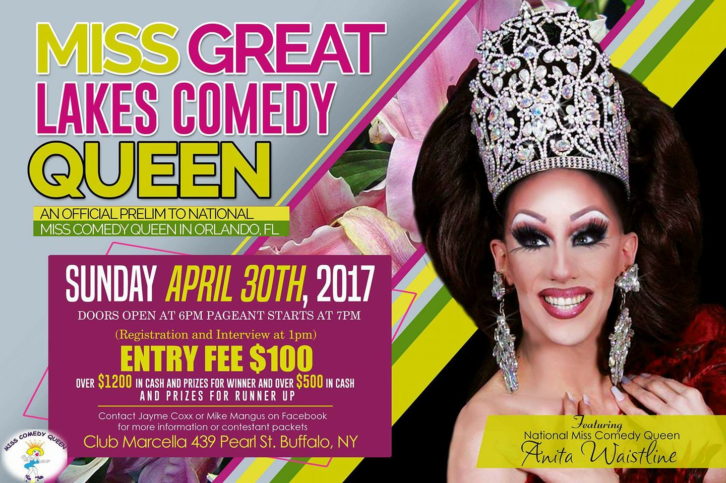 Show Ad | Miss Great Lakes Comedy Queen | Club Marcella (Buffalo, New York) | 4/30/2017