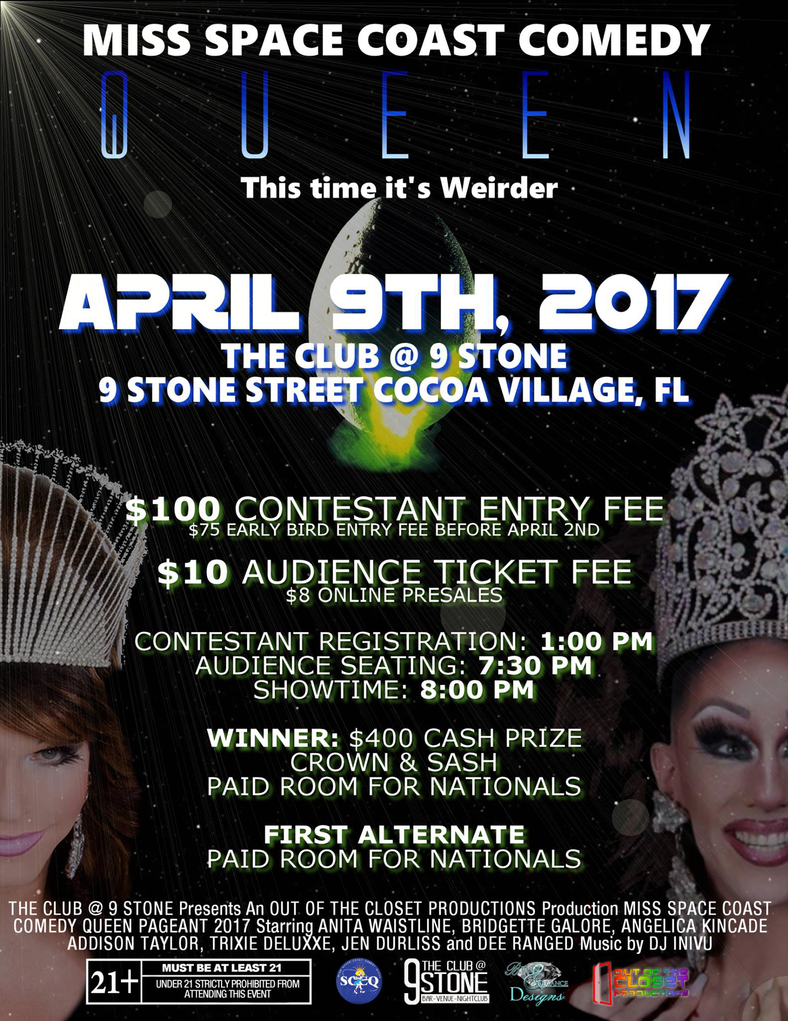Show Ad | Miss Space Coast Comedy Queen | The Club @ 9 Stone (Cocoa Village, Florida) | 4/9/2017