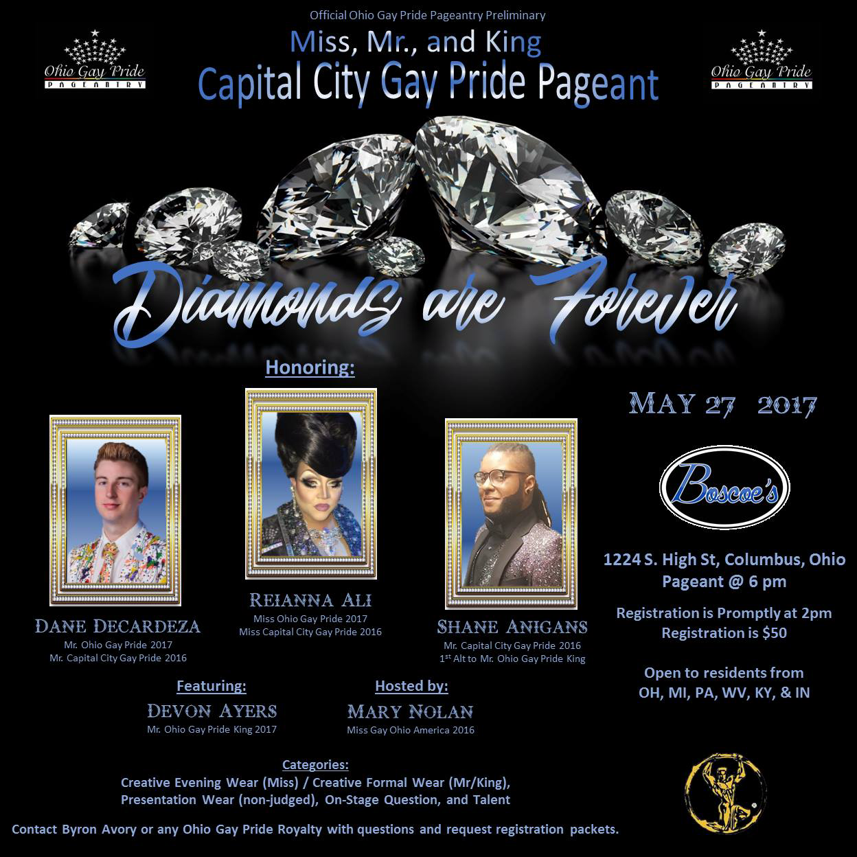 Show Ad | Miss, Mr. and King Capital City Gay Pride | Boscoe's (Columbus, Ohio) | 5/27/2017