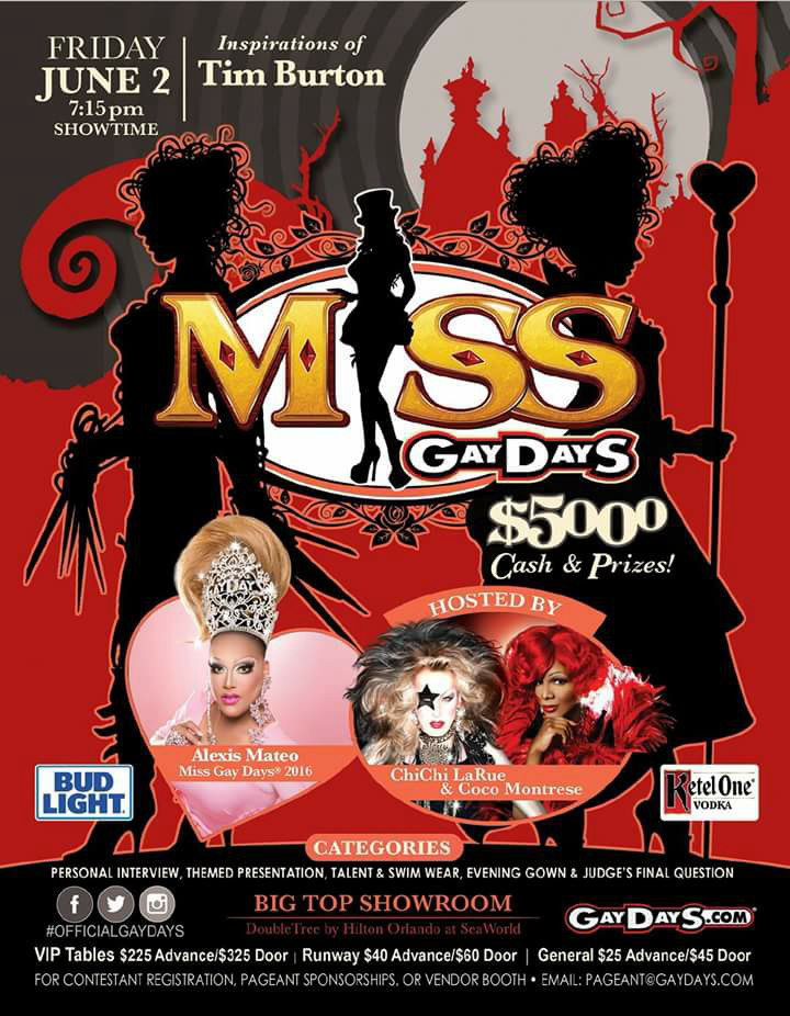 Show Ad | Miss Gay Days | Big Top Showroom | Double Tree by Hilton Orlando at Sea World (Orlando, Florida) | 6/2/2017