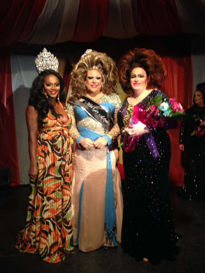 Dominique Sanchez (Miss Gay USofA Classic 2017), Mya Alexander (Miss Gay Arkansas USofA Classic 2018) and Diedra Windsor Walker (1st Alternate to Miss Gay Arkansas USofA Classic 2018) at Triniti Night Club in Little Rock, Arkansas on the night of March 2nd, 2018 at the Miss Gay Arkansas USofA Classic pageant.