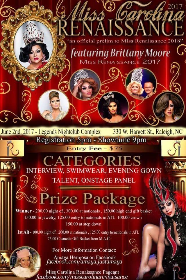 Show Ad | Miss Carolina Renaissance | Legends Nightclub Complex (Raleigh, North Carolina) | 6/2/2017