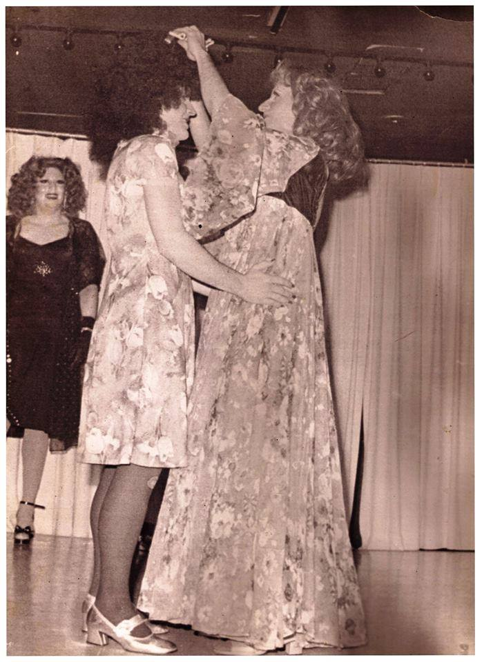 Carrie Fillips being crowned as Miss Gigi's 1977 by Renee Dumont