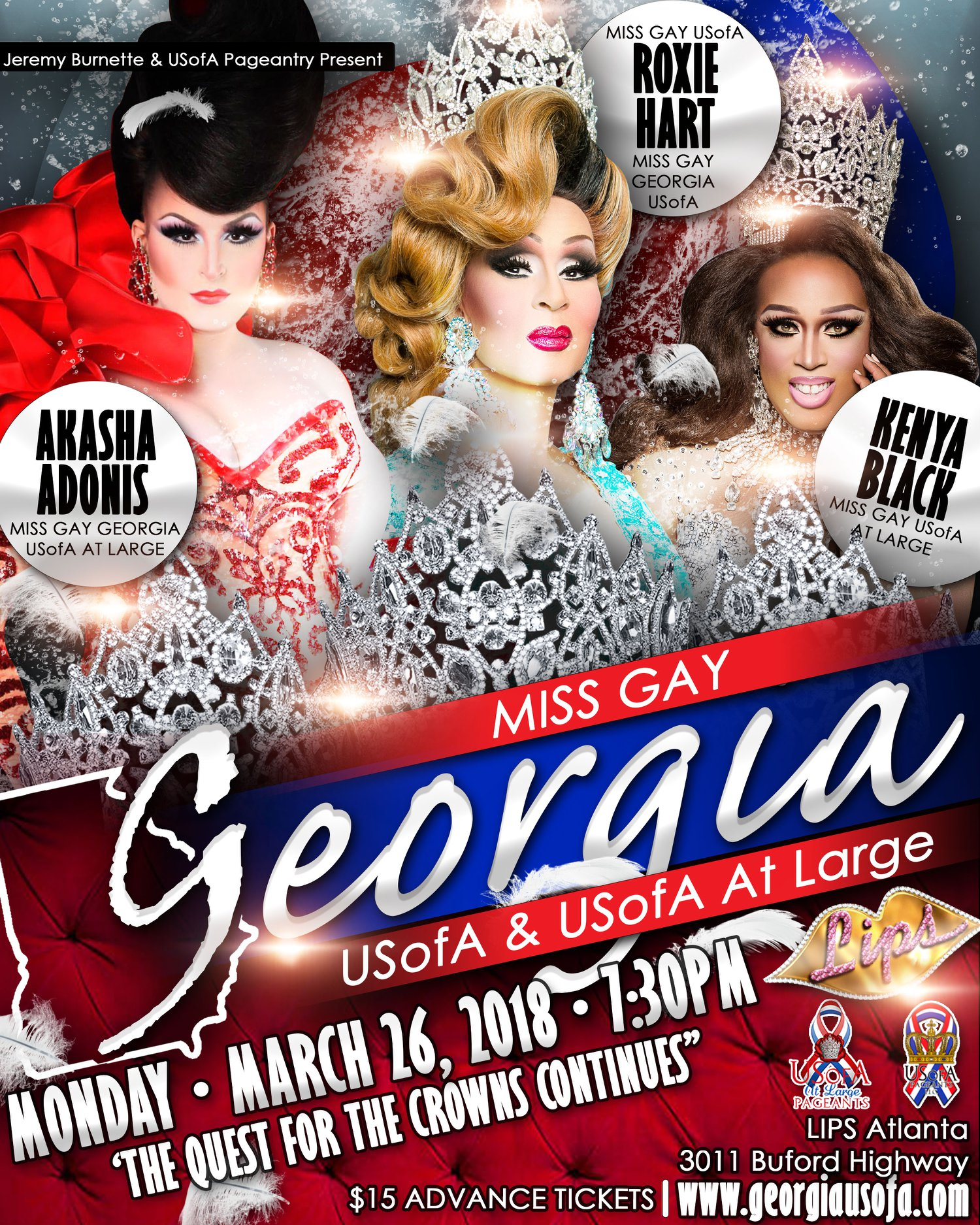 Show Ad | Miss Gay Georgia USoA and Miss Gay Georgia USofA at Large | 3/26/2018