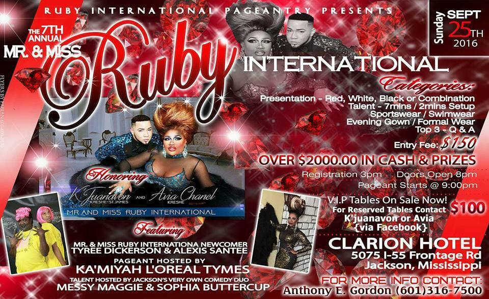 Show Ad | Mr. and Miss Ruby International | Clarion Hotel (Jackson, Mississippi) | 9/25/2016