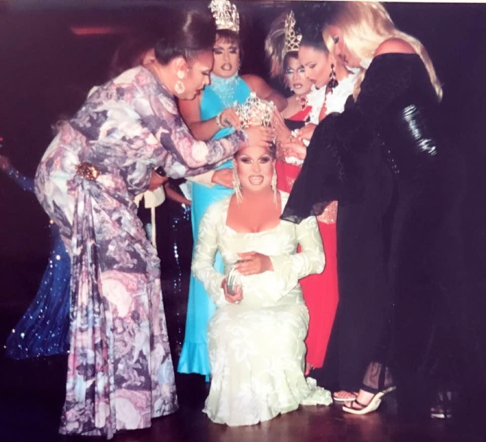 Kathryn York being crowned Miss Gay McAllen USofA w/ Valerie Paris, Kayla York, Christina Ross, Erica Andrews and Aaron Davis.