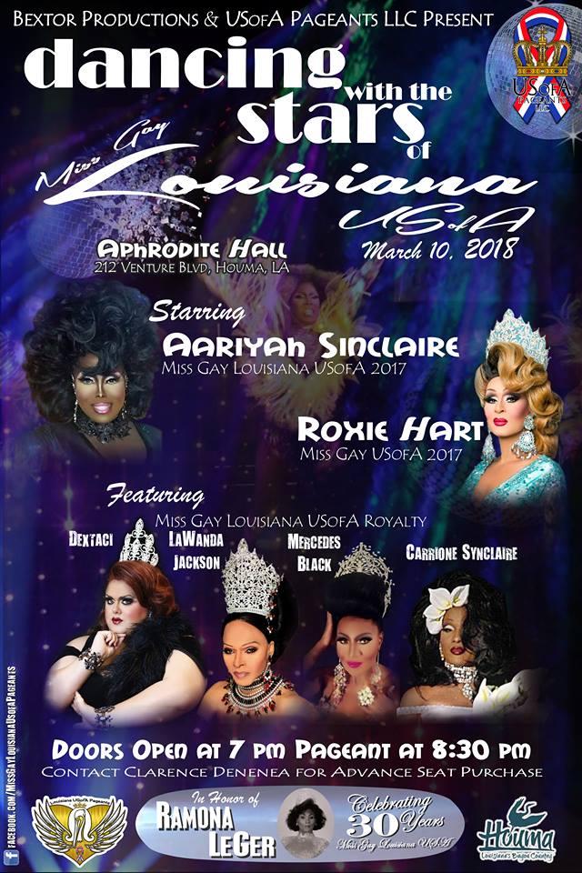 Show Ad   Miss Gay Louisiana USofA   Aphrodite Hall (Houma, Louisiana)   3/10/2018