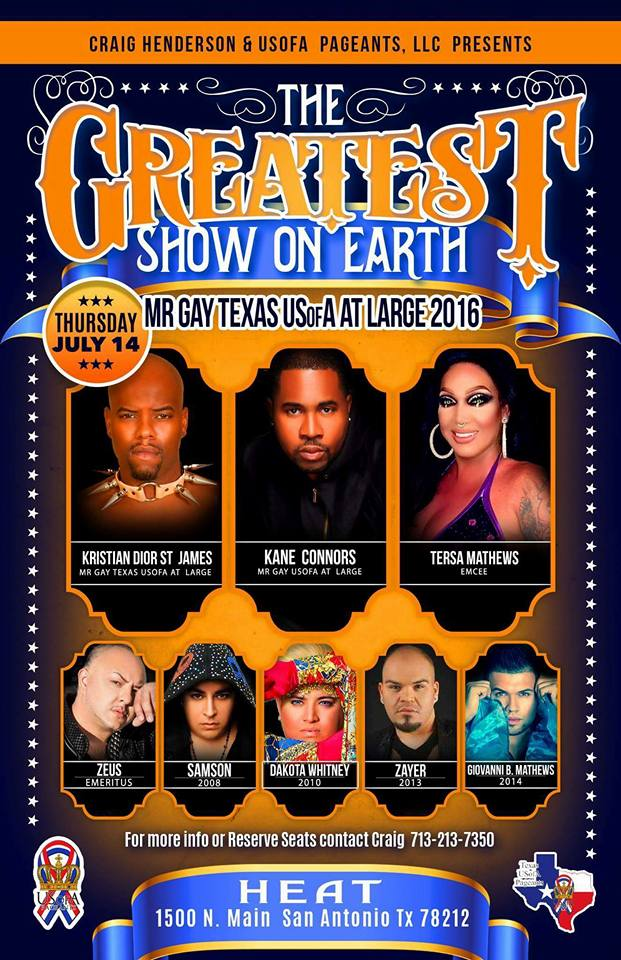 Show Ad | Mr. Gay USofA at Large | Heat (San Antonio, Texas) | 7/14/2016