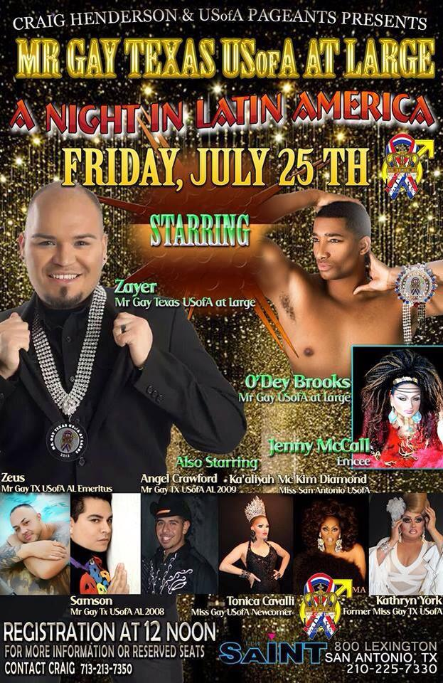 Show Ad | Mr. Gay Texas USofA at Large | Saint (San Antonio, Texas) | 7/25/2014