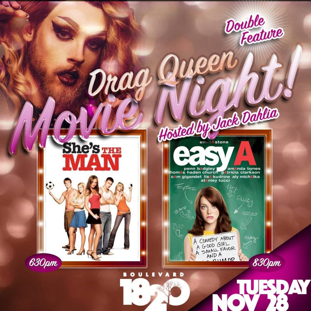 Show Ad | Drag Queen Movie Night Hosted By Jack Dahlia | Boulevard 1820 (Charlotte, North Carolina) | 11/28/2017