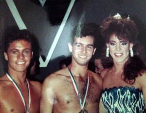 Arkansas' own Miss Gay America 1988 Cherry Lane and Mr. Gay All-American 1988 Brad Bemis congratulate the newly-named Mr. Gay All-American 1989, Patrick Boyd. (Photo courtesy of Cherry Lane.)