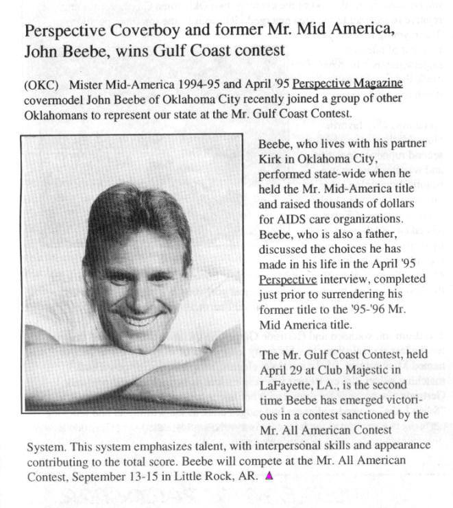 Perspective Coverboy and former Mr. Mid America, John Beebe, wins Gulf Coast contest [Perspective - June 1995]